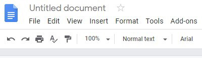 Google Docs editing controls header