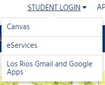 Student login options on homepage